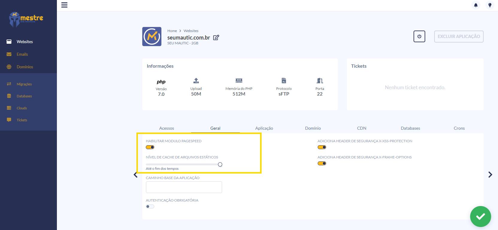 Hospedagem Mautic - PageSpeed